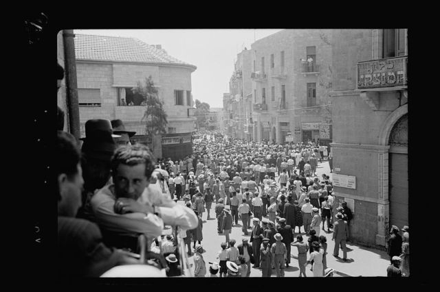 Jewish protest demonstrations against Palestine White Paper, May 18, 1939. Meeting of demonstrating groups on corner of King George Avenue & Aggrippa's Road [Jerusalem]