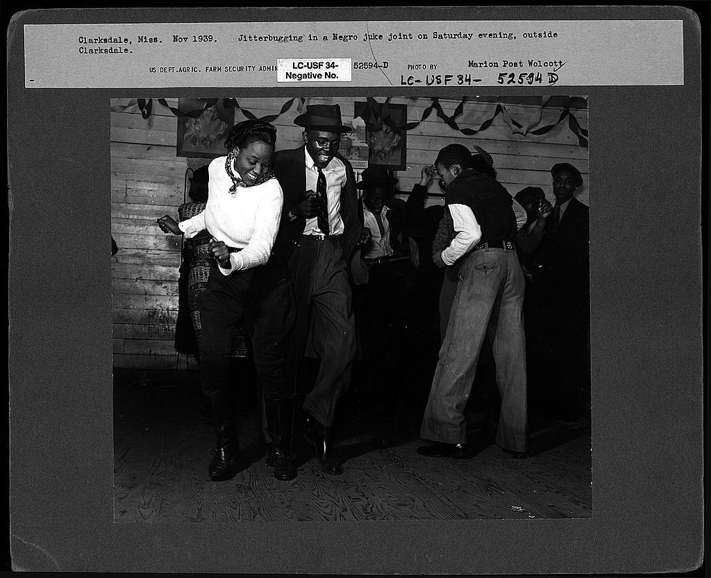 Jitterbugging in Negro juke joint, Saturday evening, outside Clarksdale, Mississippi