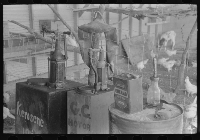 Kerosene and motor oil used on the farm, El Indio, Texas