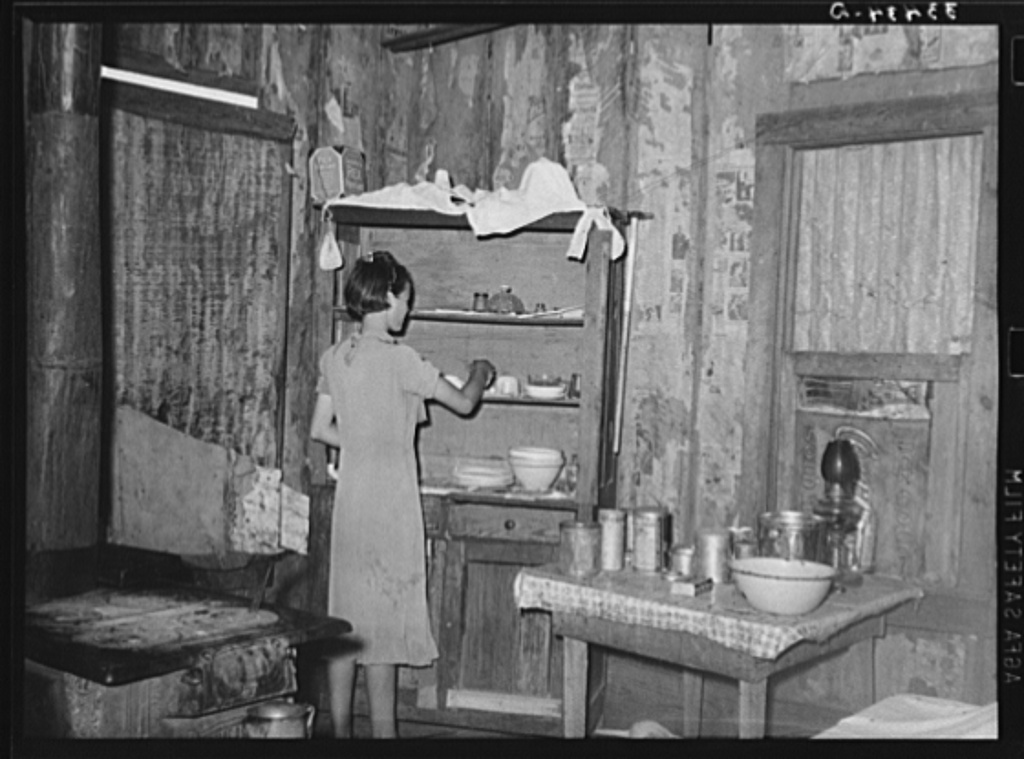 Kitchen of tenant farmer near Warner, Oklahoma