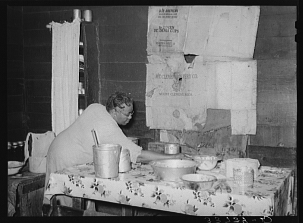 Kitchen table in home of Negro tenant farmer. Muskogee County, Oklahoma
