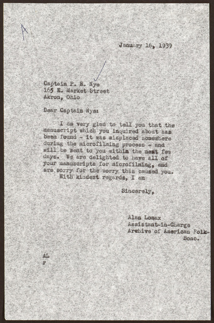 Letter from Alan Lomax to Pearl R. Nye, January 16, 1939
