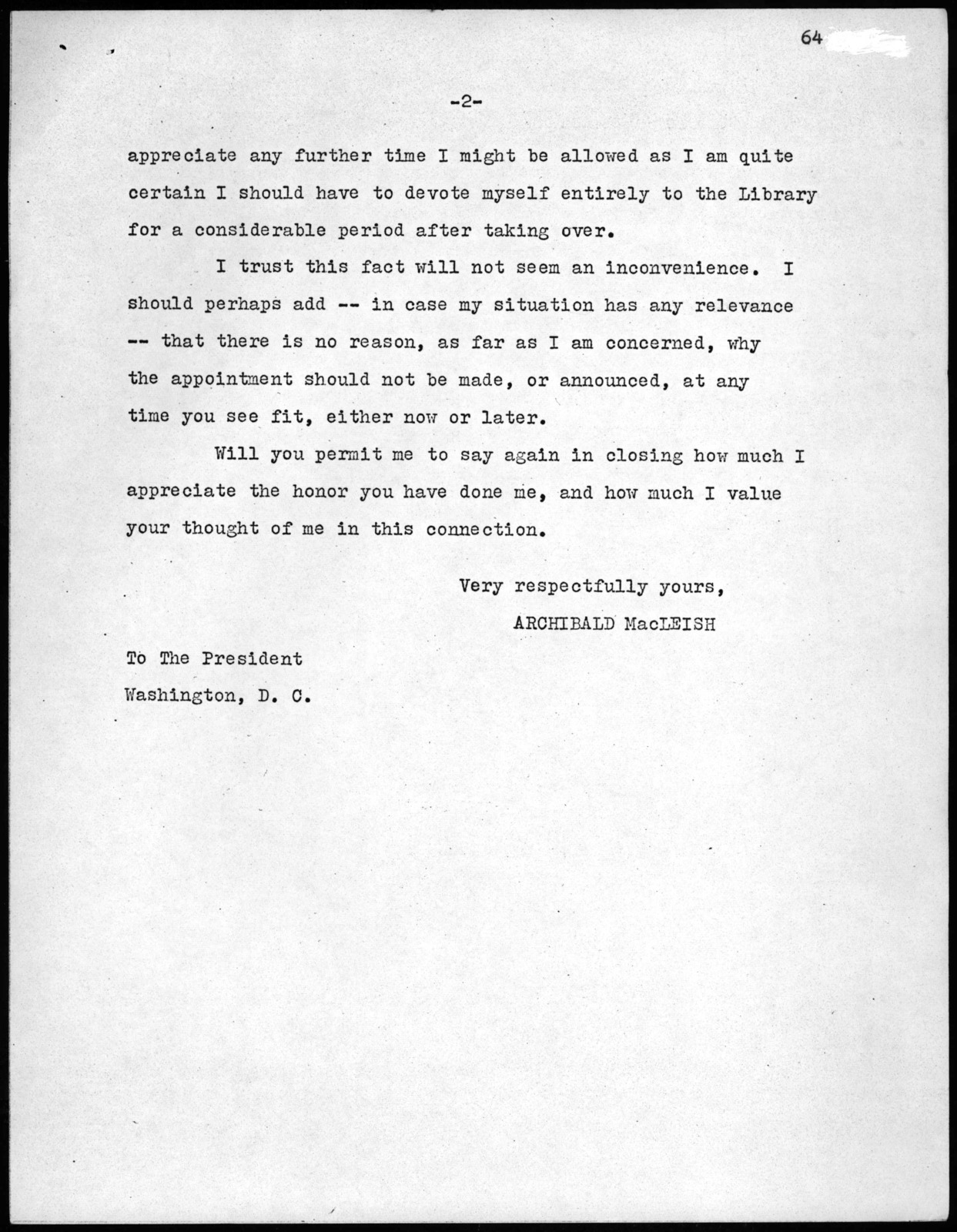 Letter from Archibald MacLeish to Franklin D. Roosevelt, June 1, 1939