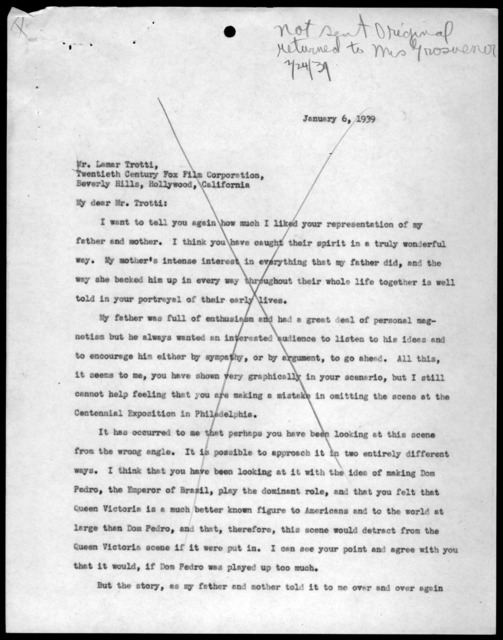 Letter from Elsie Bell Grosvenor to Lamar Trotti, January 6, 1939