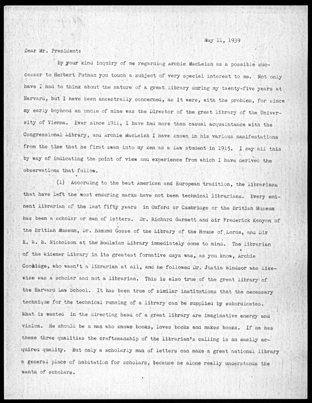 Letter from Felix Frankfurter to Franklin D. Roosevelt, May 11, 1939