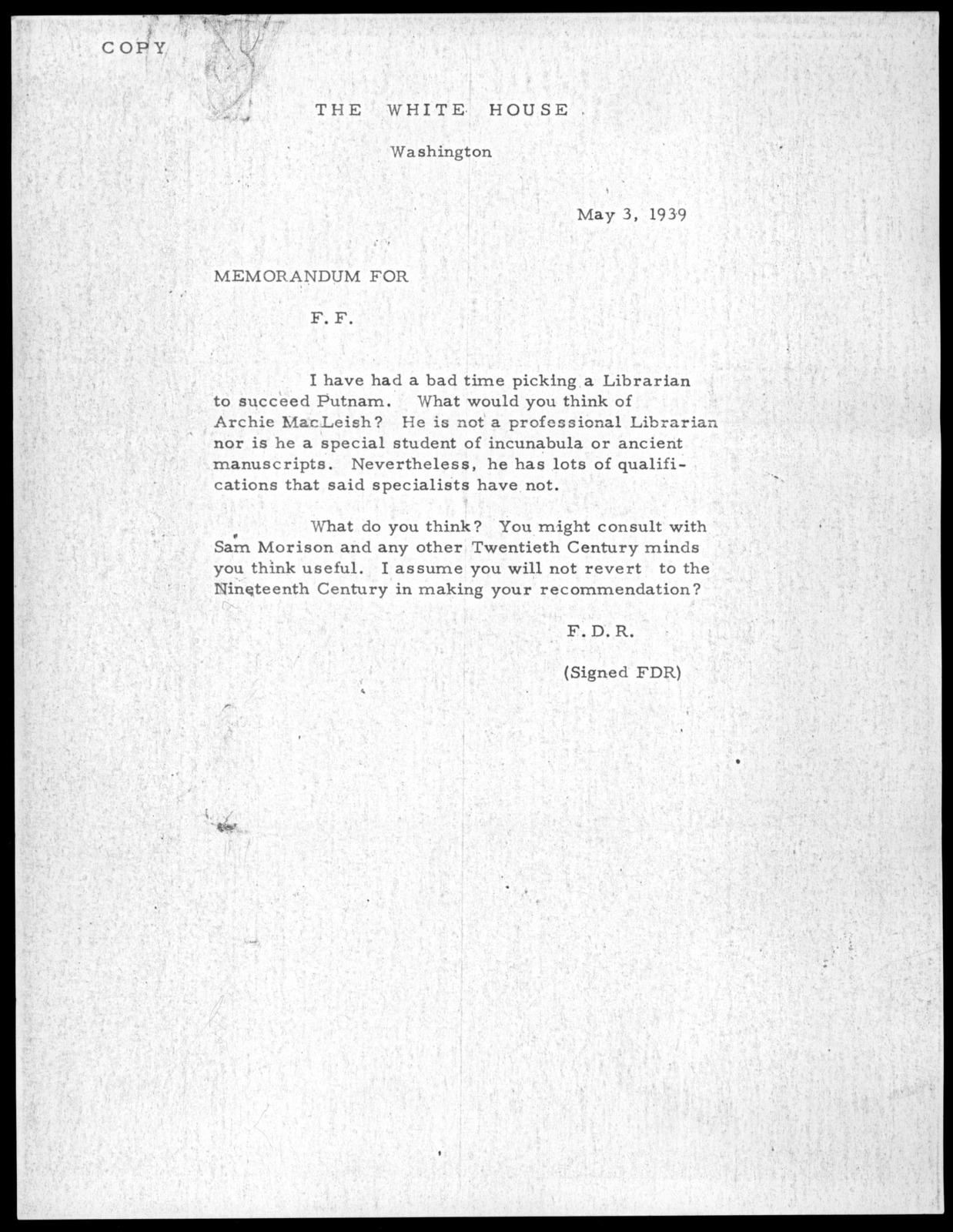Letter from Franklin D. Roosevelt to Felix Frankfurter, May 3, 1939