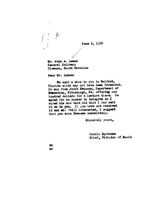 Letter from Harold Spivacke to John A. Lomax, General Delivery, Clemson, SC