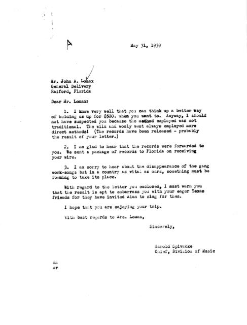 Letter from Harold Spivacke to John A. Lomax, General Delivery, Raiford, FL