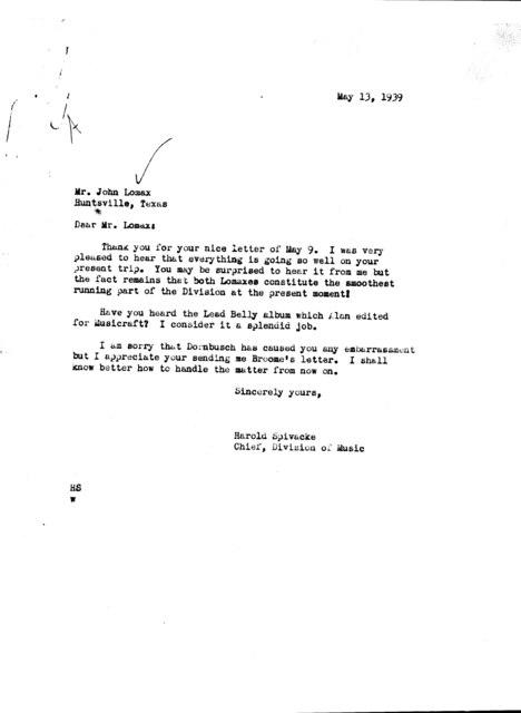 Letter from Harold Spivacke to John A. Lomax; Huntsville, TX