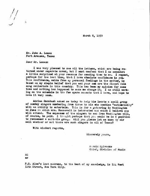 Letter from Harold Spivacke to John A. Lomax; Port Aransas, TX