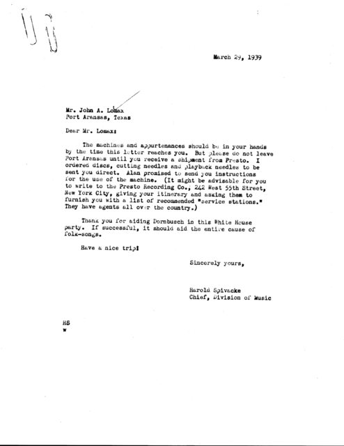 Letter from Harold Spivacke to John A. Lomax, Port Aransas, TX