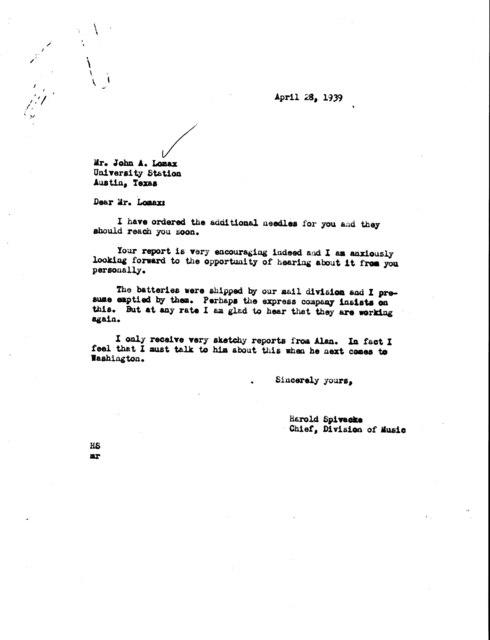 Letter from Harold Spivacke to John A. Lomax; University Station, Austin, TX