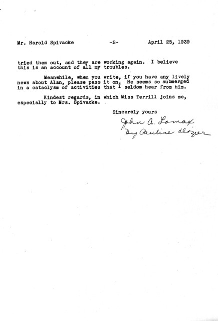 Letter from John A. Lomax to Harold Spivacke
