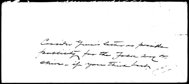 Letter from John A. Lomax to Harold Spivacke (with original envelope)
