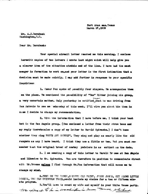 Letter from John A. Lomax to Mr. A. J. Dornbush
