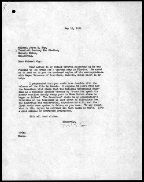 Letter from Melville Bell Grosvenor to Jason S. Joy, May 15, 1939