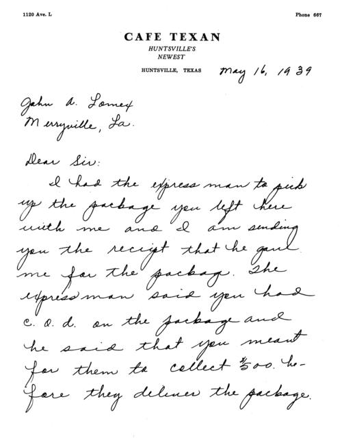 Letter to John A. Lomax Merryville, La., including a receipt for package delivery