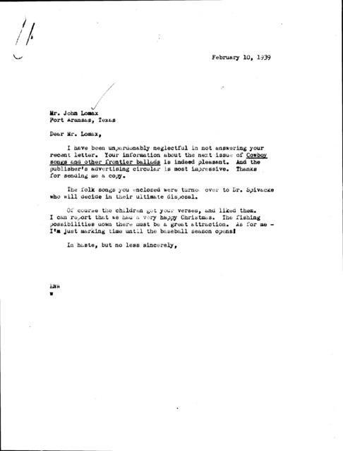 Letter to John A. Lomax; Port Aransas, TX