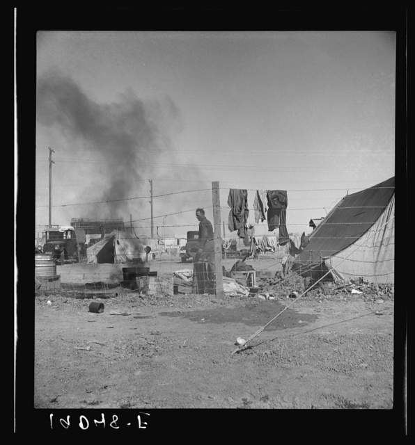 Living conditions for migratory laborers in private auto camp. Tent space fifty cents per week. Calipatria, Imperial County