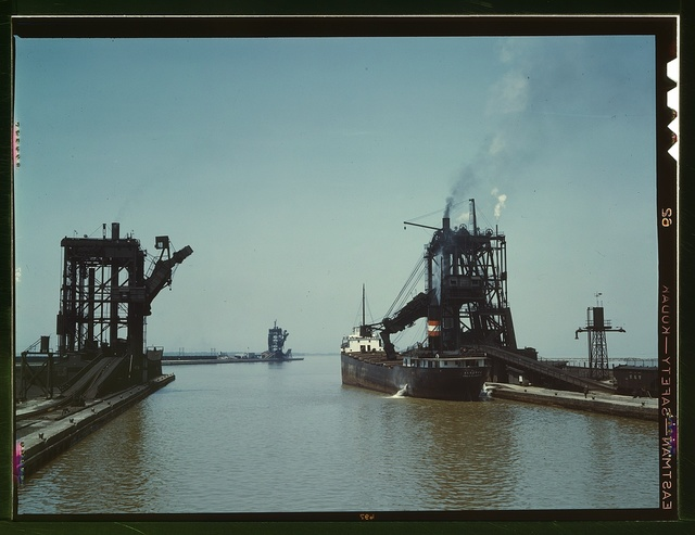 Loading a freighter with coal at one of the three coal docks owned by the Pennsylvania Railroad, Sandusky, Ohio