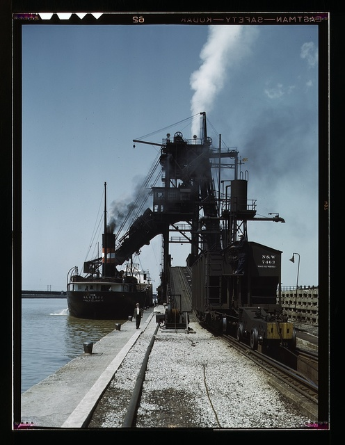 Loading a lake freighter with coal at the Pennsylvania R.R. coal docks, for shipment to other Great Lake ports, Sandusky, Ohio
