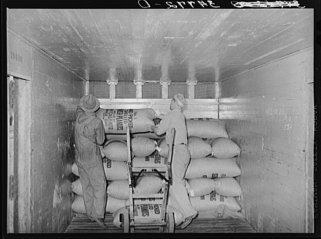 Loading carload of peanuts at peanut-shelling plant. Comanche, Texas