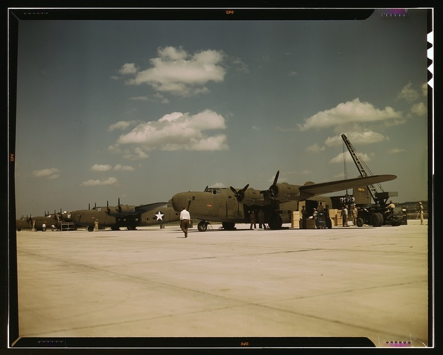 Loading new transport planes at the Consolidated Aircraft Corporation plant, Fort Worth, Texas