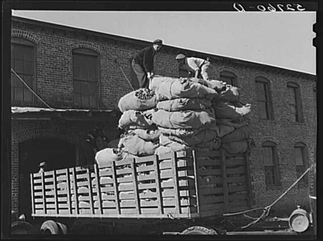 Loading truck at stem tobacco plant in Wendell. Wake County, North Carolina