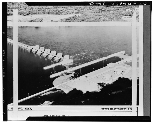 Lock and dam no. 5 looking downstream on the upper Mississippi River