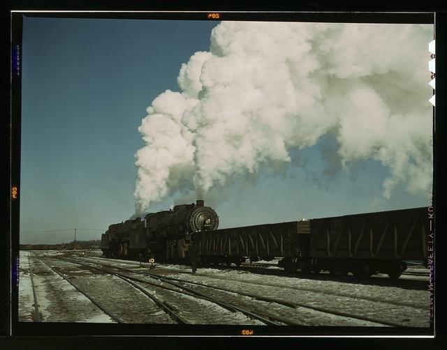 Locomotive in a railroad yard, Chicago and Northwestern RR (?), near Chicago, Ill.(?)