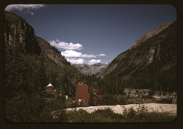 Looking down the valley toward Ouray from the Camp Bird Mine, Ouray County, Colorado.