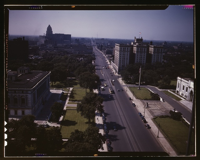 Looking north on Woodward Ave., from the Maccabee[s] Building with the Fisher Building at the far left, and the Wardell Hotel at the middle right, Detroit, Mich.