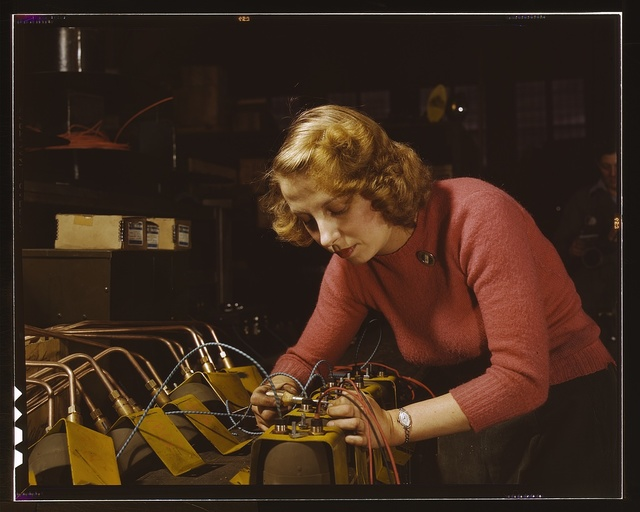Lucile Mazurek, age 29, ex-housewife, husband going into the service, working on black-out lamps to be used on the gasoline trailers in the Air Force, Heil and Co., Milwaukee, Wisc.