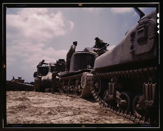 M-3 and M4 tank company at bivouac, Ft. Knox, Ky.