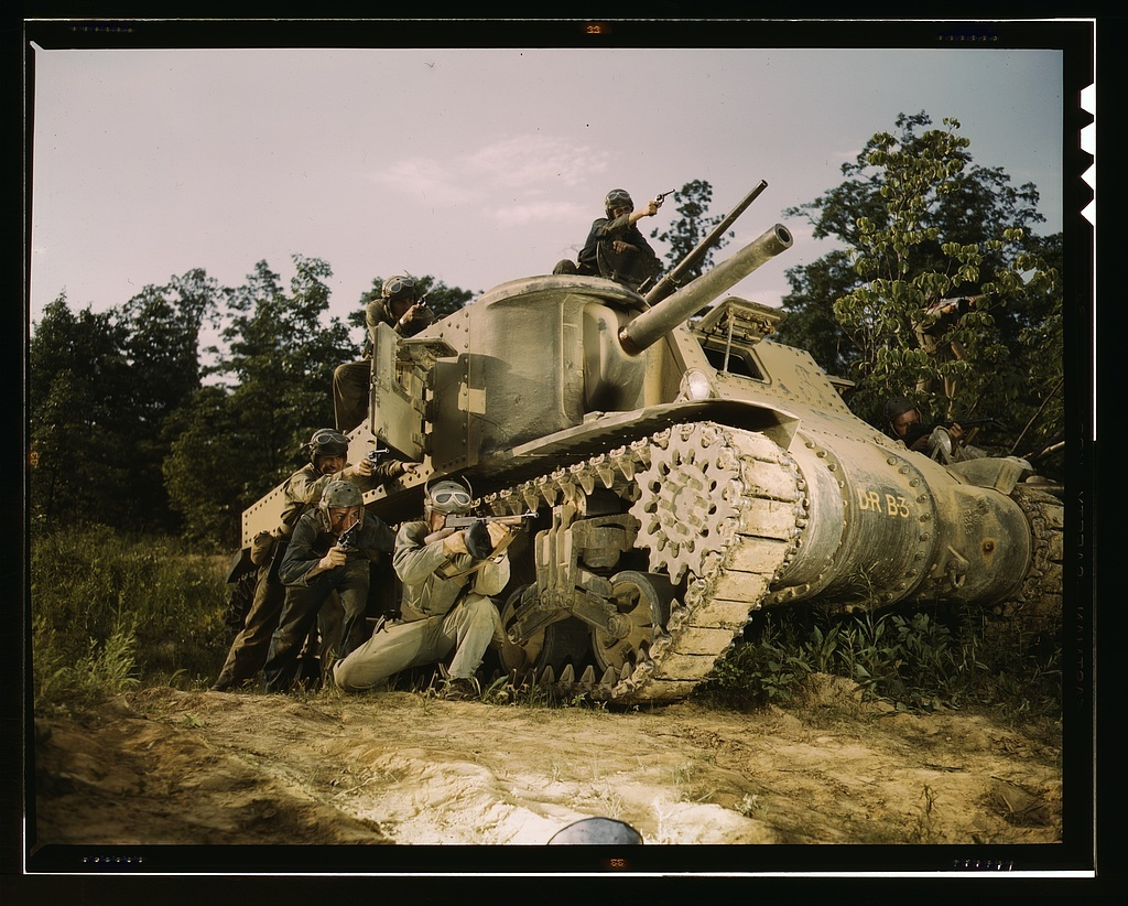 M-3 tank and crew using small arms, Ft. Knox, Ky.