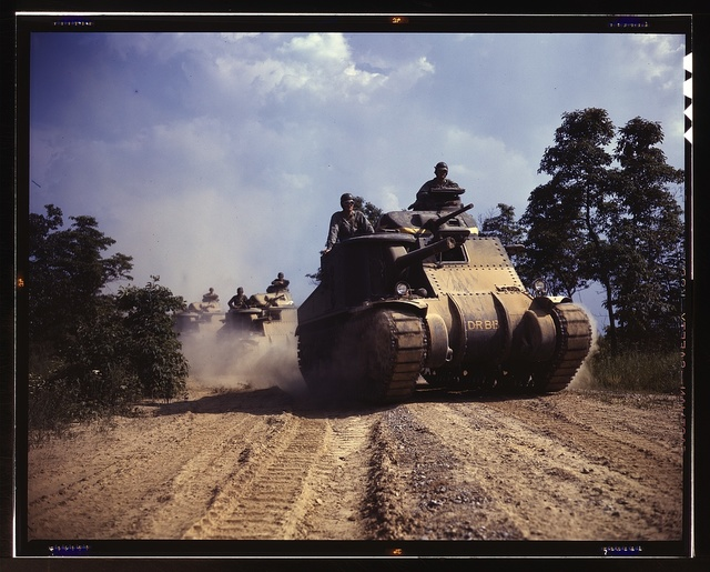 M-3 tanks in action, Ft. Knox, Ky.