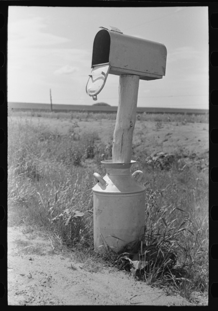 Mail box set up in milk can near Hydro, Oklahoma
