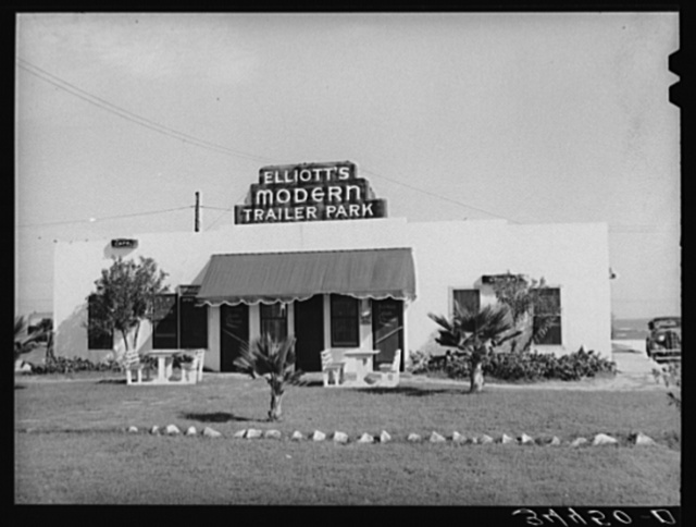 Main building at trailer park containing cafe and grocery. North Beach section, Corpus Christi, Texas