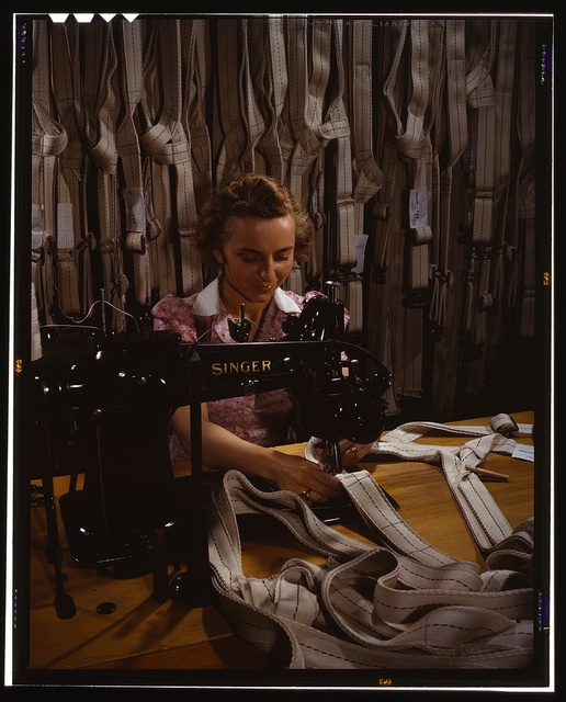 Making harnesses, Mary Saverick stitching, Pioneer Parachute Company Mills, Manchester, Conn.