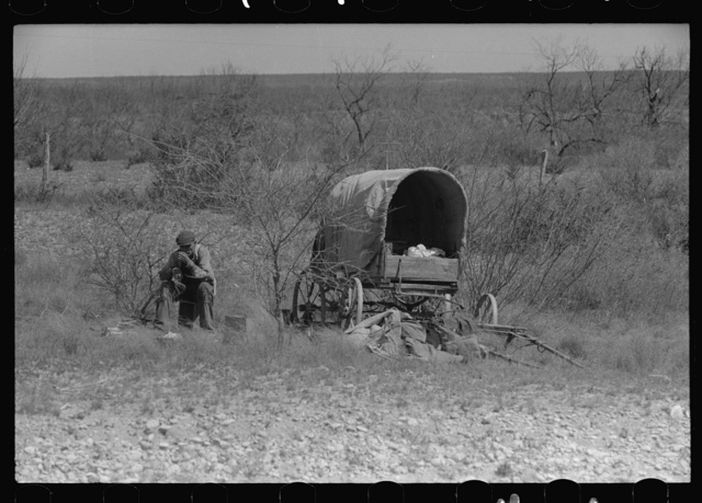 Man encamped in the mesquite near Uvalde, Texas