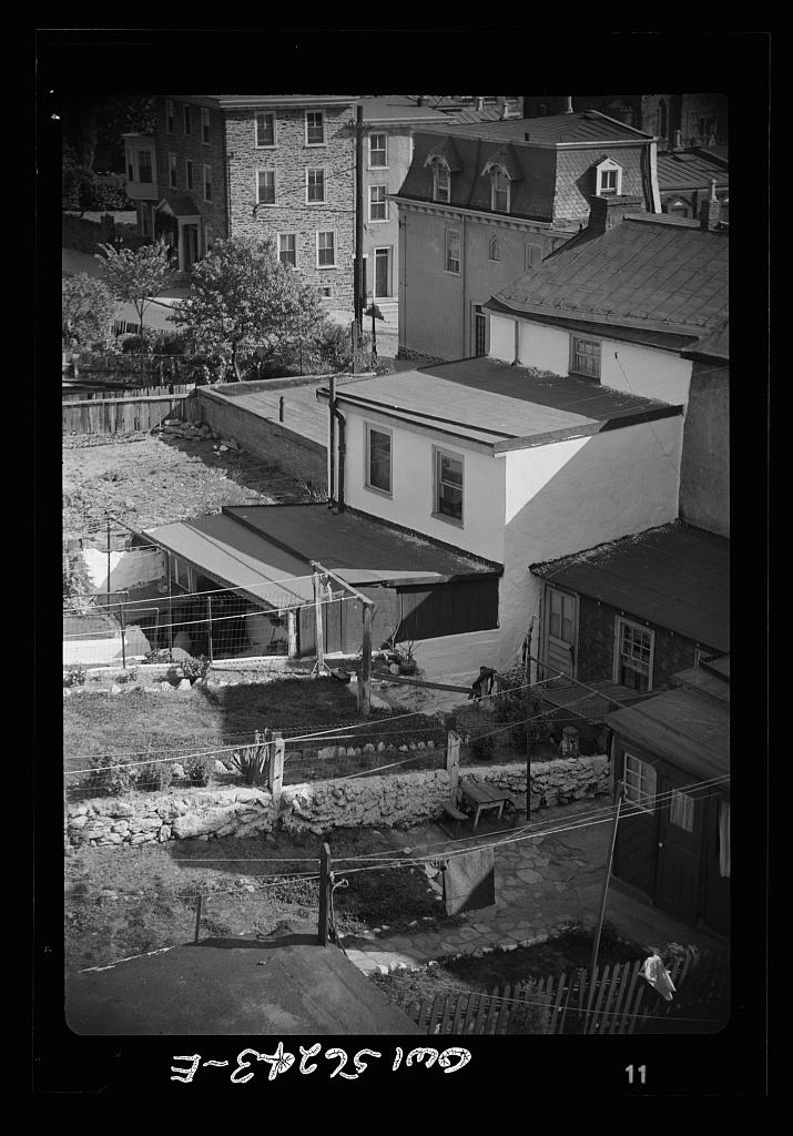 Manayunk, Pennsylvania. Back yards on a hillside