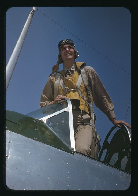 Marine Corps lieutenant studying glider piloting at Page Field, Parris Island, S.C.
