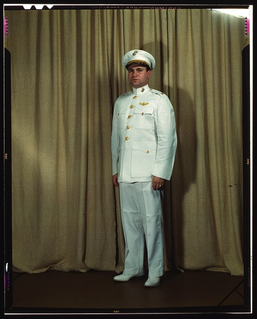 Marine Corps Major in dress white uniform, W[orld] W[ar] II