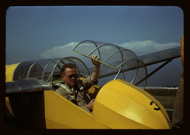 Marine glider pilot in training at Page Field, is watching take-offs, Parris Island, S.C.