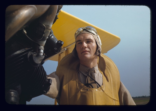 Marine lieutenant by the power towing plane for the gliders at Page Field, Parris Island, S.C.