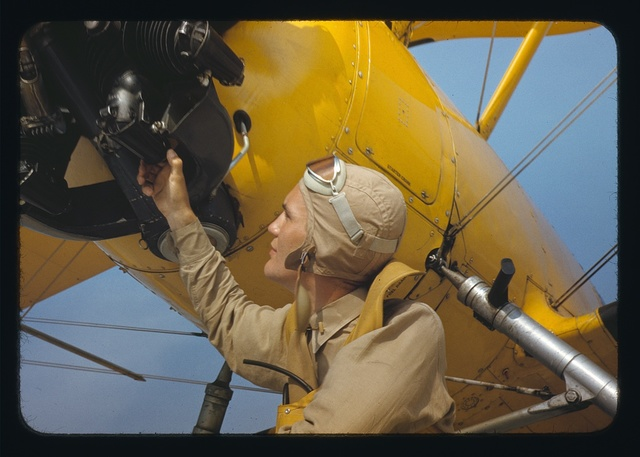 Marine lieutenant by the power towing plane for the gliders at Parris Island, S.C.