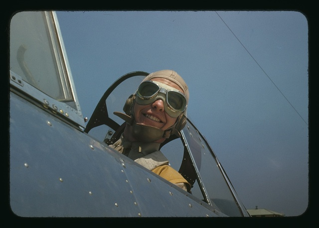 Marine lieutenant, glider pilot in training, ready for take-off at Page Field, Parris Island, S.C.