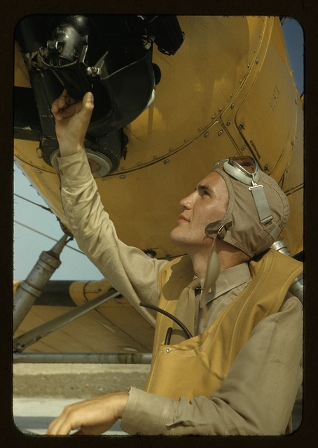 Marine lieutenant, pilot with the power towing plane for the training gliders at page Field, Parris Island, S.C.