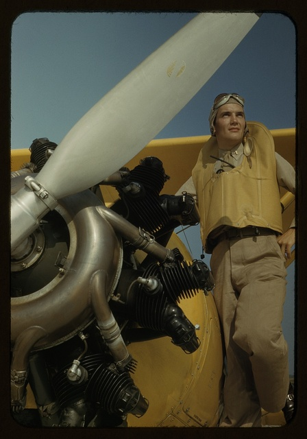 Marine lieutenant, pilot with the power towplane for the training gliders at Page Field, Parris Island, S.C.