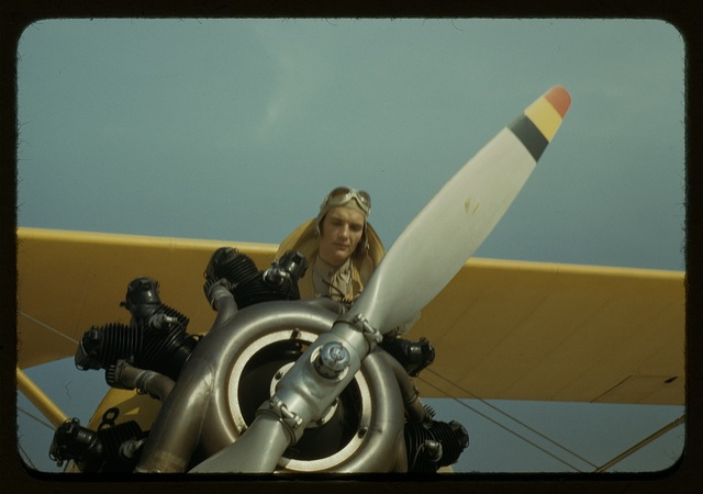 Marine lieutenant with the power towing plane for the gliders at Page Field, Parris Island, S.C.